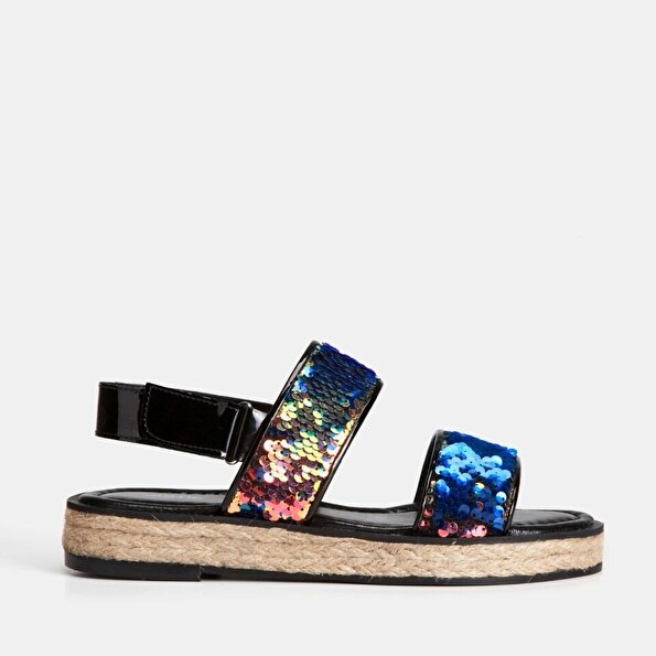 Resim Tekstil Lacivert Kadın Düz Sandalet