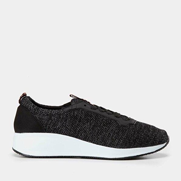 Resim Tekstil Siyah Yaya Spor Ayakkabı