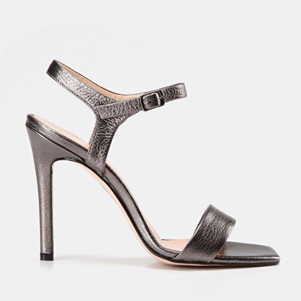 Resim Hakiki Deri Lame Kadın Topuklu Sandalet