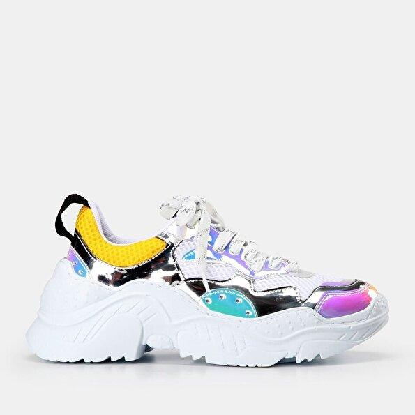 Resim Tekstil Beyaz Kadın Spor Ayakkabı