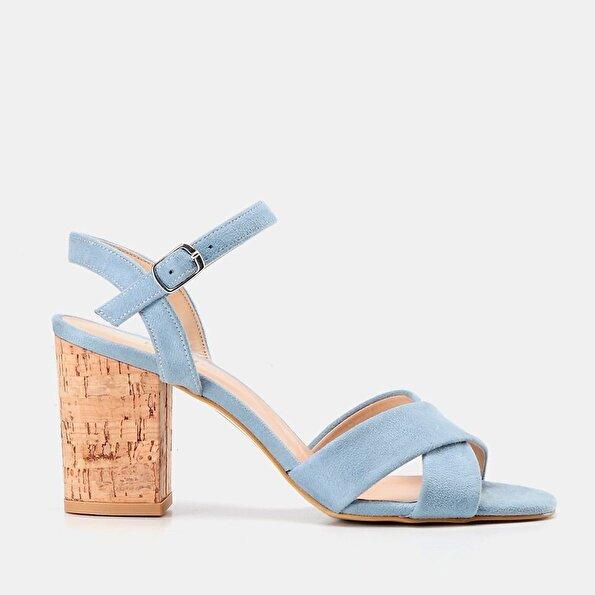 Resim  Mavi Kadın Topuklu Sandalet