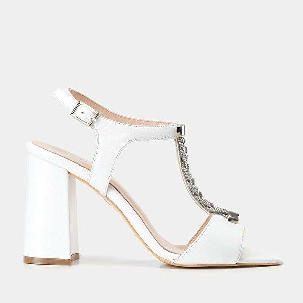 Resim Hakiki Deri Beyaz Kadın Topuklu Sandalet