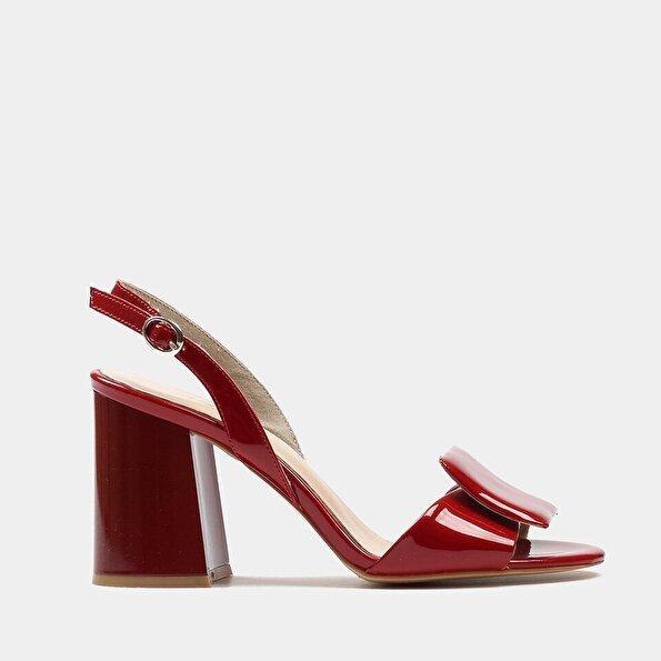 Resim Hakiki Deri Kırmızı Kadın Topuklu Sandalet