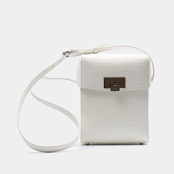 Resim Hakiki Deri Beyaz Çanta&Aksesuar Mini (Çapraz) Çanta