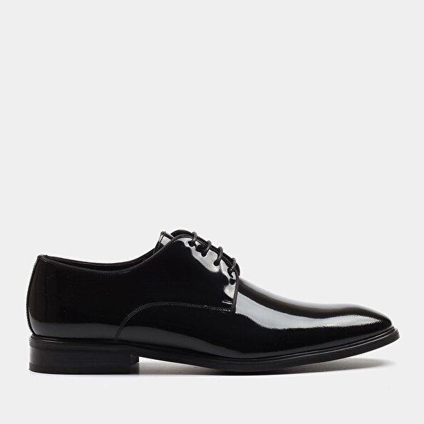 Resim Hakiki Deri Siyah Erkek Klasik Ayakkabı