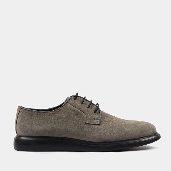 Resim Hakiki Deri Gri Erkek Günlük Ayakkabı