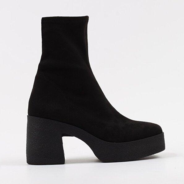 Resim Tekstil Siyah Kadın Topuklu Bot