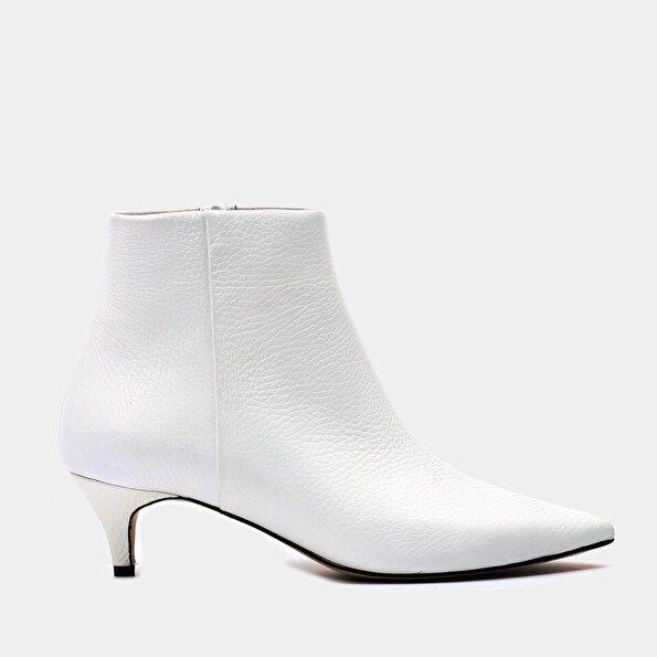Resim Hakiki Deri Beyaz Kadın Topuklu Bot