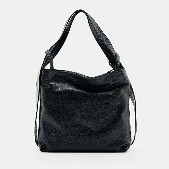 Resim Hakiki Deri Siyah Kadın Çanta