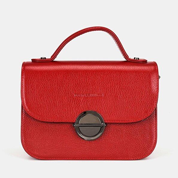 Resim Hakiki Deri Kırmızı Kadın Mini (Çapraz) Çanta