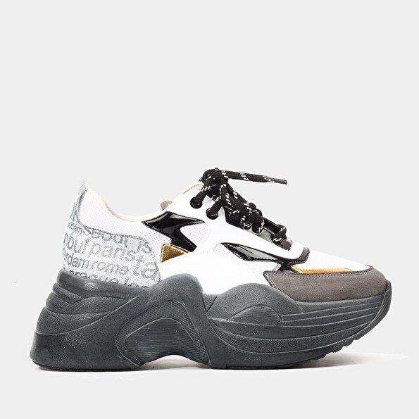 Resim Tekstil Gri Kadın Spor Ayakkabı
