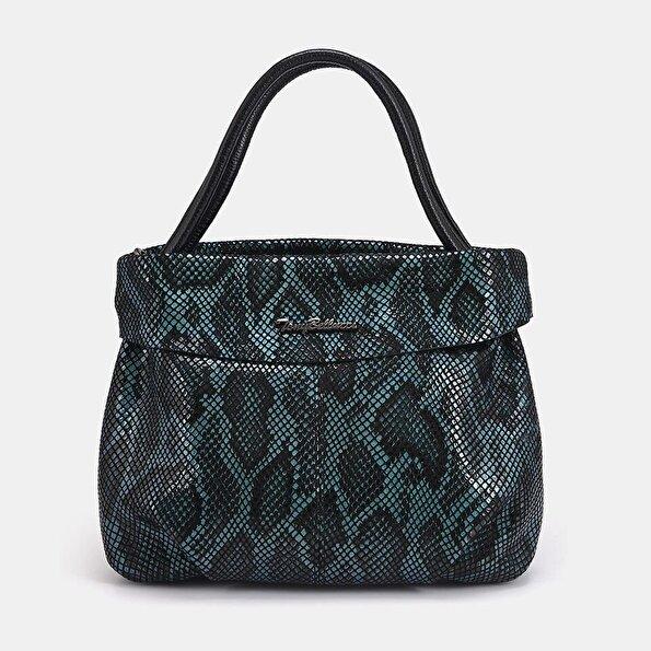 Resim Hakiki Deri Yeşil Kadın Mini (Çapraz) Çanta