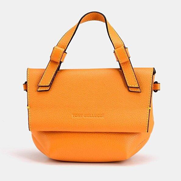 Resim Hakiki Deri Sarı Kadın Mini (Çapraz) Çanta