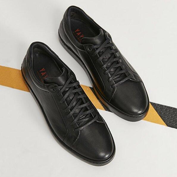 Resim Hakiki Deri Siyah Yaya Spor Ayakkabı