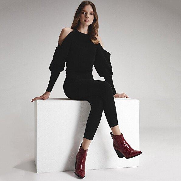 Resim  Kırmızı Kadın Topuklu Bot