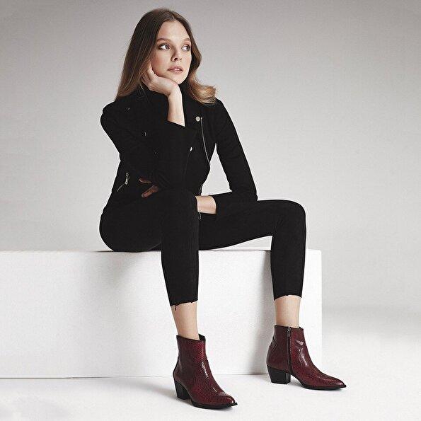 Resim  Bordo Kadın Topuklu Bot