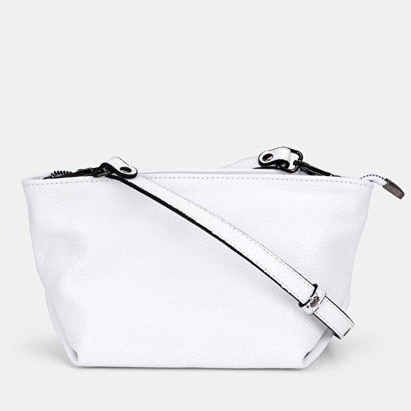 Resim Hakiki Deri Beyaz Kadın Mini (Çapraz) Çanta