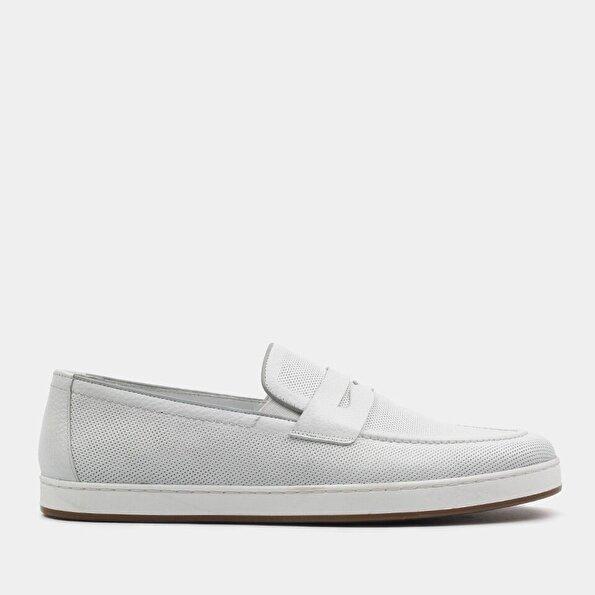 Resim Hakiki Deri Beyaz Erkek Loafer