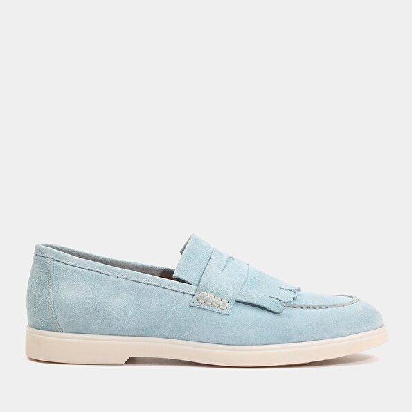 Resim Hakiki Deri Açık mavi Erkek Loafer
