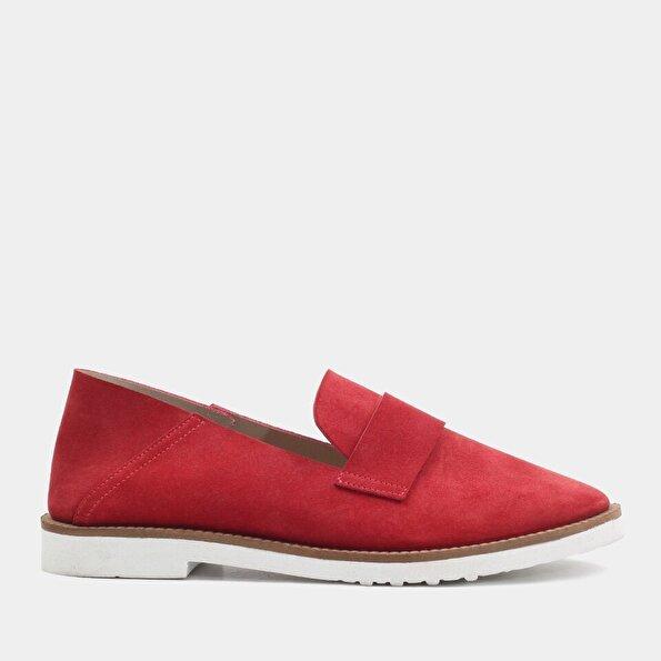 Resim Hakiki Deri Kırmızı Kadın Loafer