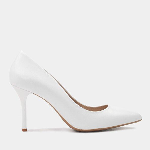 Resim Hakiki Deri Beyaz Kadın Stiletto