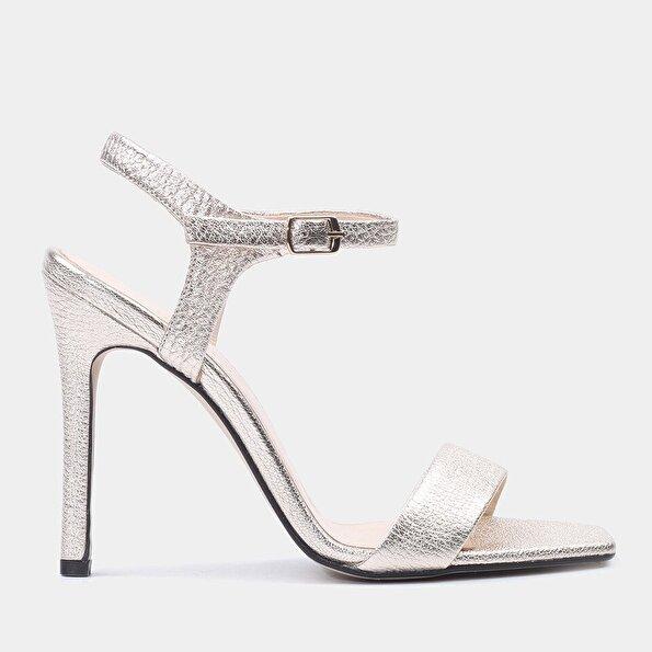 Resim Hakiki Deri Gold Kadın Topuklu Sandalet