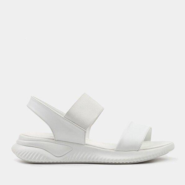 Resim  Beyaz Kadın Düz Sandalet