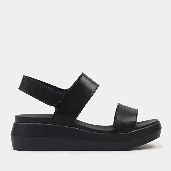 Resim Hakiki Deri Siyah Kadın Düz Sandalet
