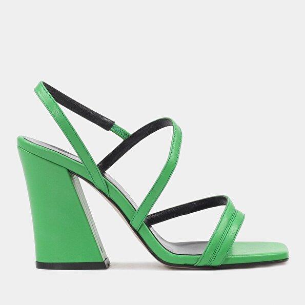 Resim Hakiki Deri Yeşil Kadın Topuklu Sandalet