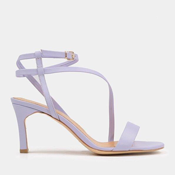 Resim Hakiki Deri Lila Kadın Topuklu Sandalet