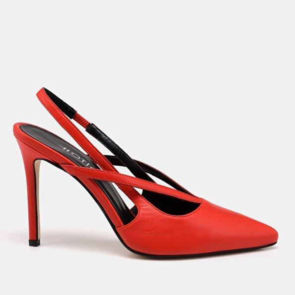 Resim Hakiki Deri Kırmızı Kadın Stiletto