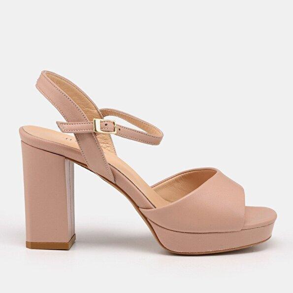 Resim Hakiki Deri Naturel Kadın Topuklu Sandalet