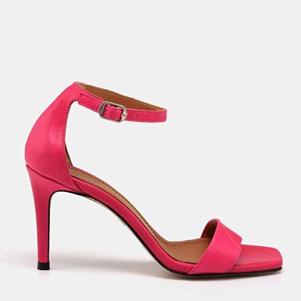 Resim Hakiki Deri Fuşya Kadın Topuklu Sandalet