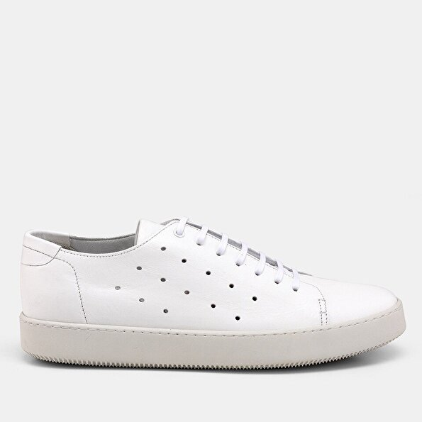 Resim Hakiki Deri Beyaz Erkek Günlük Ayakkabı