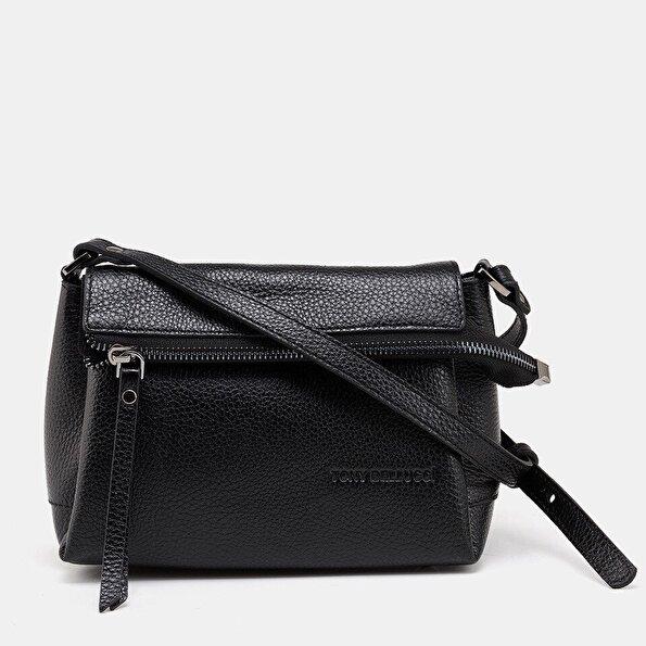 Resim Hakiki Deri Siyah Kadın Mini (Çapraz) Çanta