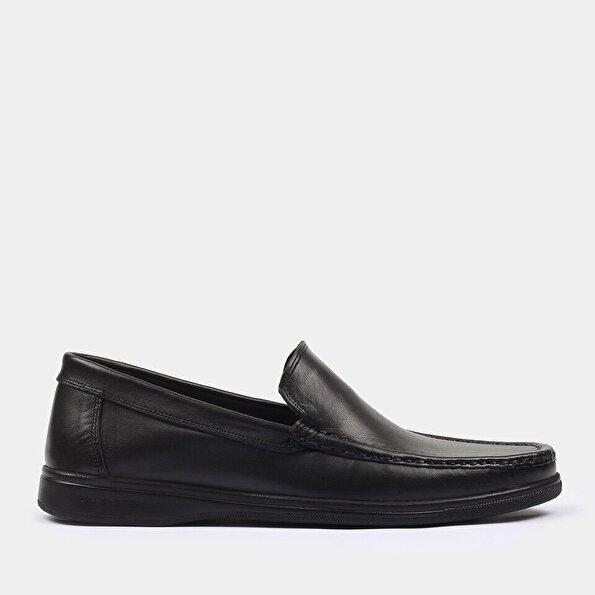Resim Hakiki Deri Siyah Yaya Günlük Ayakkabı
