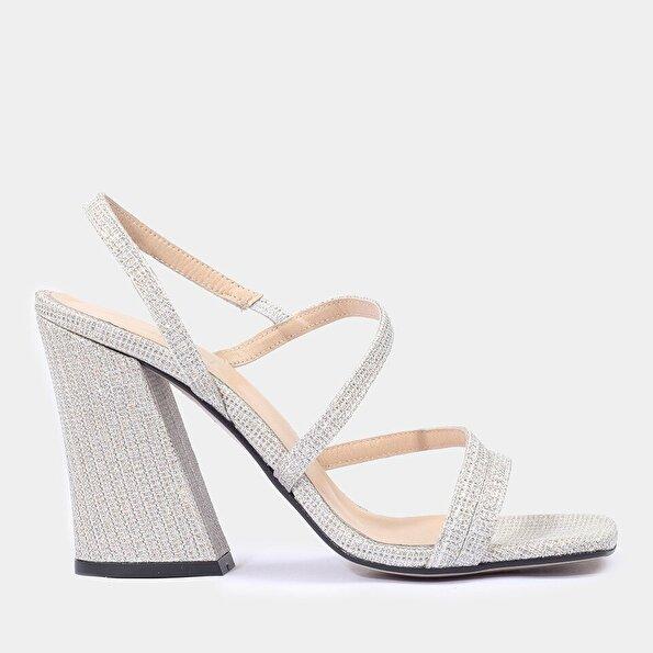 Resim Tekstil Lame Kadın Topuklu Sandalet
