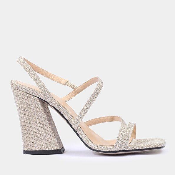 Resim Tekstil Gold Kadın Topuklu Sandalet