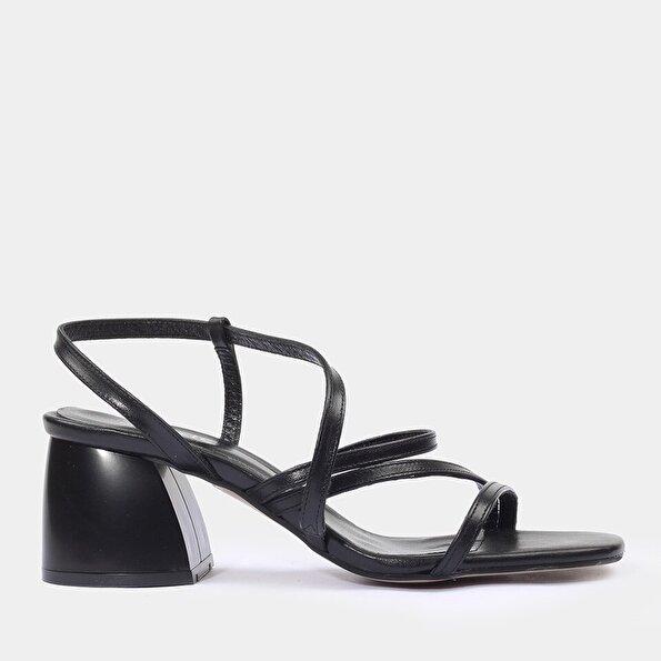 Resim Hakiki Deri Siyah Kadın Topuklu Sandalet