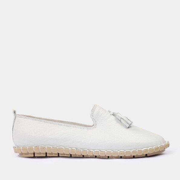 Resim Hakiki Deri Beyaz Yaya Günlük Ayakkabı