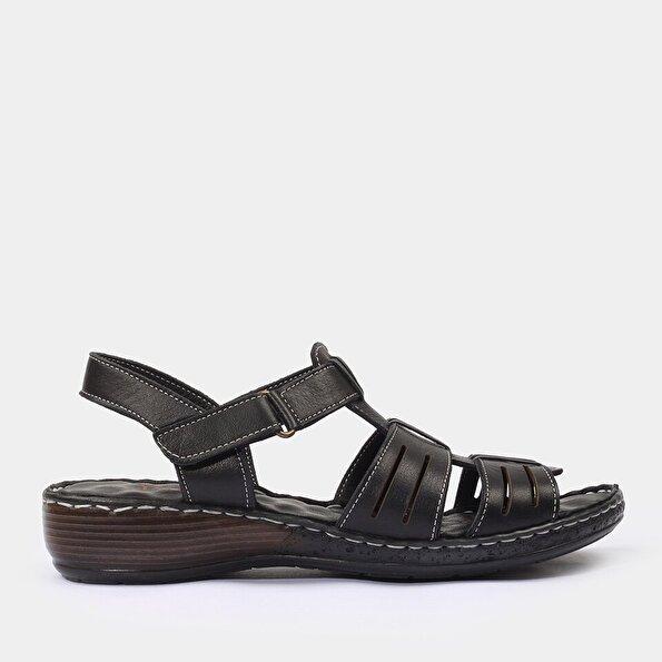 Resim Hakiki Deri Siyah Yaya Sandalet