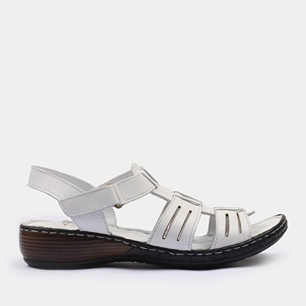 Resim Hakiki Deri Beyaz Yaya Sandalet