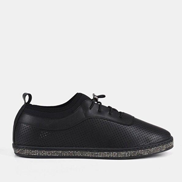 Resim Siyah Yaya Kadın Spor Ayakkabı