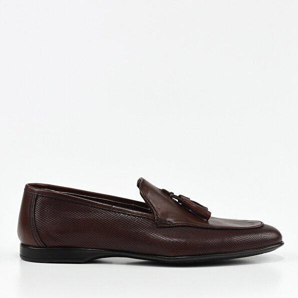 Resim Hakiki Deri Kahve Erkek Loafer