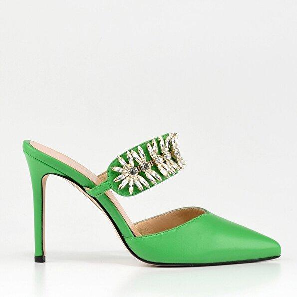 Resim Hakiki Deri Yeşil Kadın Terlik