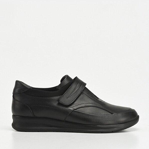Resim Hakiki Deri Siyah Yaya Kadın Günlük Ayakkabı