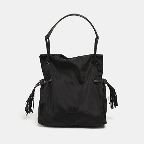 Resim Tekstil ve Hakiki Deri Siyah Kadın Çanta