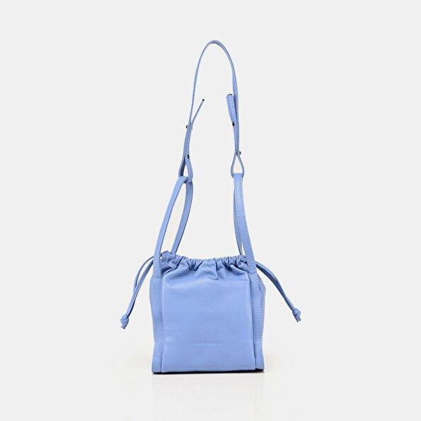 Resim Hakiki Deri Mavi Kadın Mini (Çapraz) Çanta