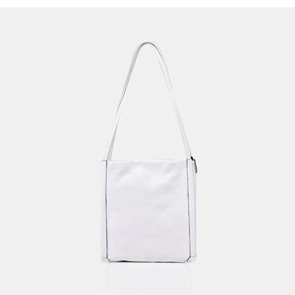 Resim Hakiki Deri Beyaz Kadın Çanta