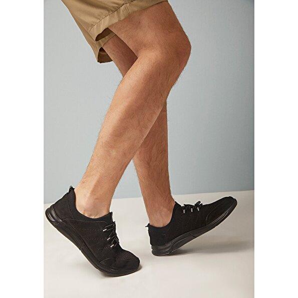 Resim Hakiki Deri Siyah Yaya Erkek Spor Ayakkabı